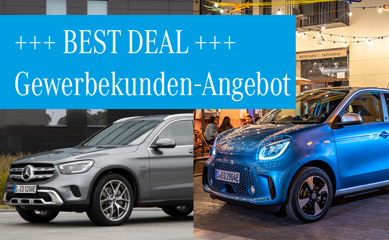 Best Deals im April für Gewerbekunden: GLC 300 e 4MATIC Plug-in-Hybrid smart EQ forfour zum Aktionspreis